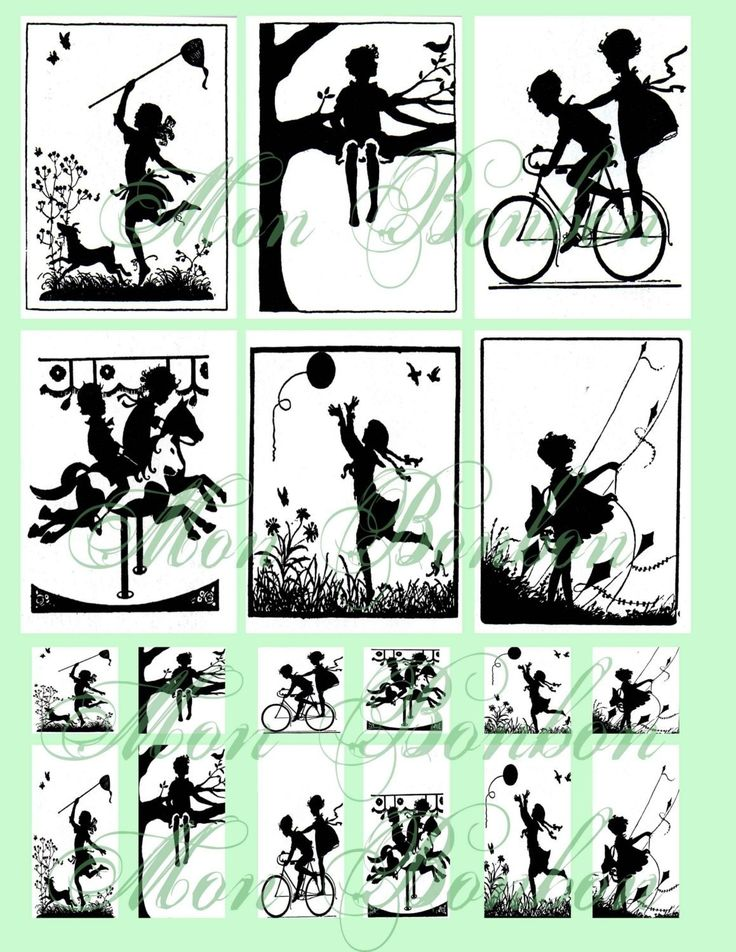 Children at Play Digital Collage Sheet of Silhouette Images and Scenes No. 129 - INSTANT DOWNLOAD. $2.89, via Etsy.