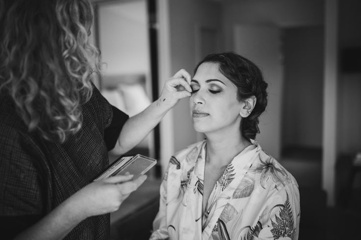 Priya having her make up done for her Wanaka Wedding with photography by Alpine Image Company
