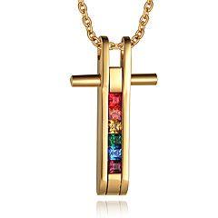 Per uomo Collane con ciondolo Ciondoli Acciaio inossidabile Placcato in oro 18K oro A croce Croce Stile semplice Di tendenza Oro Gioielli