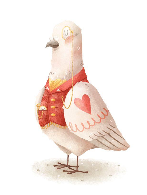 Beautiful pidgeon illustration by zoet-zuur.tumblr.com