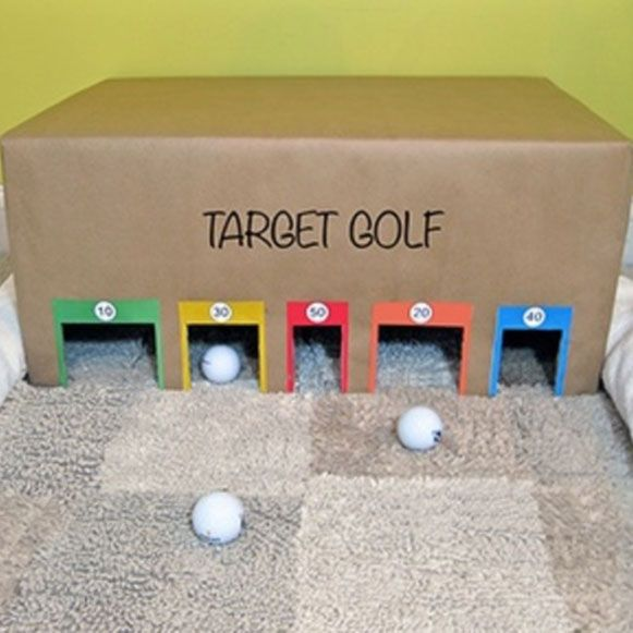 No video games needed with this DIY target golf game! Try it yourself at home or at your HQ with an old cardboard box.