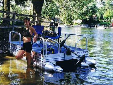 Personal Pontoon Lil Sport 510 Pontoon Boats Mid Mini Pontoon Boat Compact Small Aluminum Marine Inflatable Rescue Bass Crappie Catfish Fish Trolling Lake Front Pond River Fishing Fisherman Private Personal