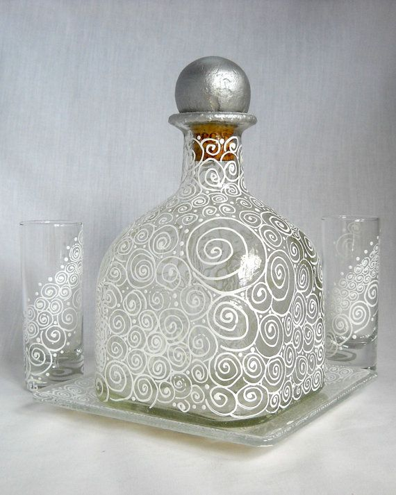 Glass Decanter Hand Painted Serving Set by skyspirit8studios