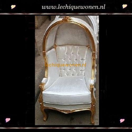 Barok kinder fauteuil little napoleon goud wit sky | Le Chique Wonen
