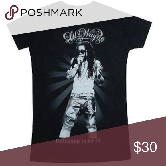 """LIL WAYNE - """"RELEASED"""" BABY DOLL T-SHIRT -XL LIL WAYNE - """"RELEASED"""" BABY DOLL T-SHIRT -  AUTHENTIC AND ORIGINAL - FULLY LICENSED  BLACK BABY DOLL T-SHIRT WITH """"LIL WAYNE"""" LOGO, PORTRAIT IMAGE, AND """"RELEASED 11-04-10"""" TEXT PRINTED ON THE FRONT.  COPYRIGHT 2011 YOUNG MONEY MERCHANDISING live nation Tops Tees - Short Sleeve"""