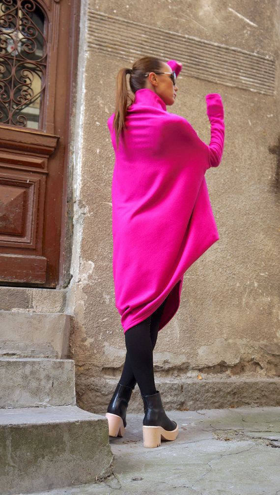 NEW Oversize Hot Pink Loose Casual Top / Asymmetric Raglan Long Sleeves Tunic Knit Dress / Maxi Blouse Turtle neck Tunic A02058
