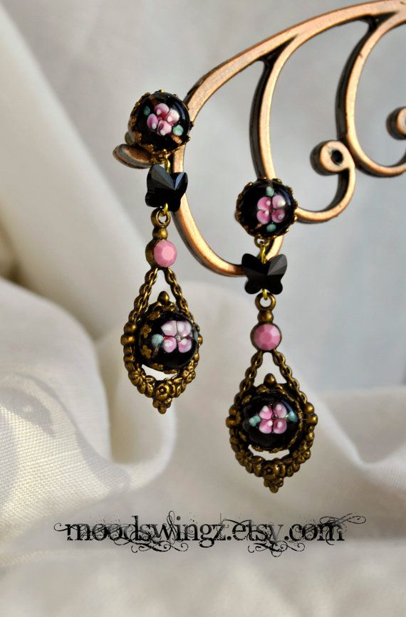 Unique vintage glass long dangle earrings with by MoodsWingz, $79.00