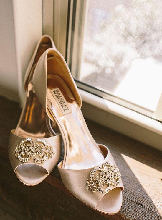 Champagne Bridal Shoes Badgley Mischka Amie Schroeder Photography Cinema Wedding