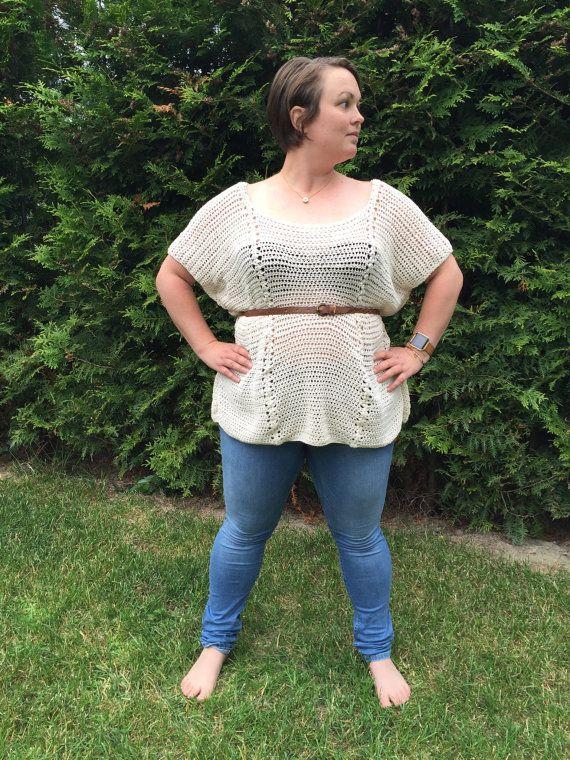 The Alba Top  Woman's Crochet Top  Crochet Pattern by joyofmotion