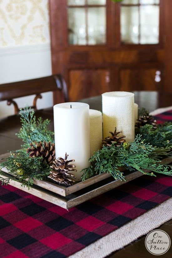 Best Christmas Table Ideas Images On Pinterest Buffalo Check - Christmas tartan table decoration