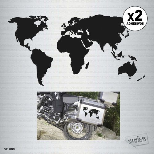 12.95 € - 2-x-VINILO-ADHESIVO-MAPA-MUNDO-MOTO-WORLD-MAP-PEGATINA-STICKER-DECAL-AUFKLEBER