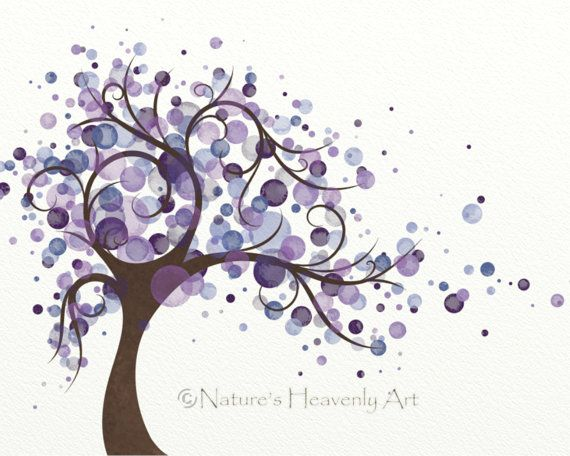 Purple Wall Decor Wind Blowing Tree by NaturesHeavenlyArt on Etsy, $14.00