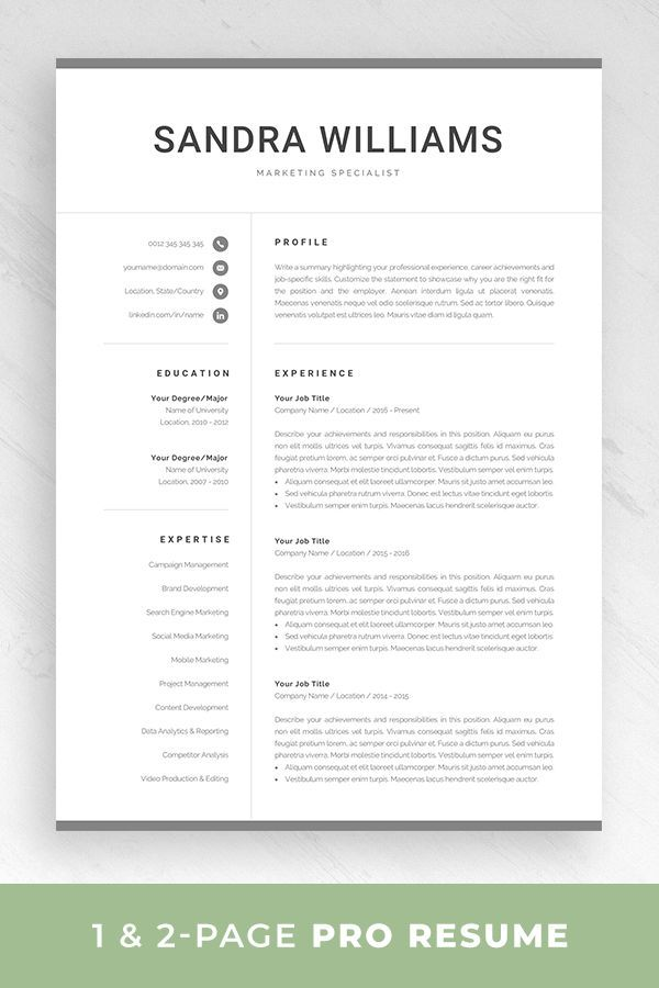 Professional Resume Template for Word Modern Marketing CV One