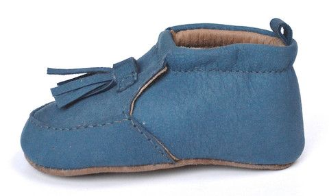 Lapito tasseled leather loafers. Scuba lapito is handmade using blue suede to create the perfect pair of baby shoes / pre walkers. Australian designed.