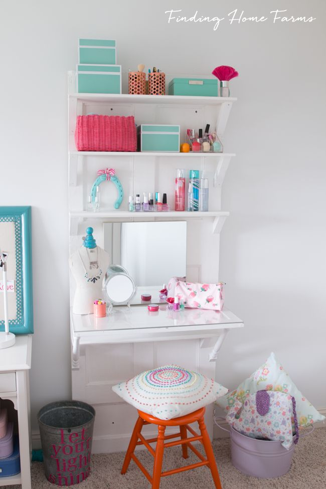 Make a Vanity Table or Desk for Teens Using a Vintage Door | Finding Home Farms
