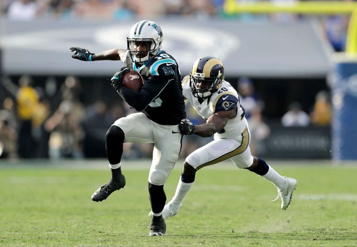 Panthers vs. Rams:  13-10, Panthers  -     Los Angeles Rams cornerback Lamarcus Joyner, right, cannot hold onto Carolina Panthers wide receiver Corey Brown during the second half of an NFL football game, Sunday, Nov. 6, 2016, in Los Angeles.