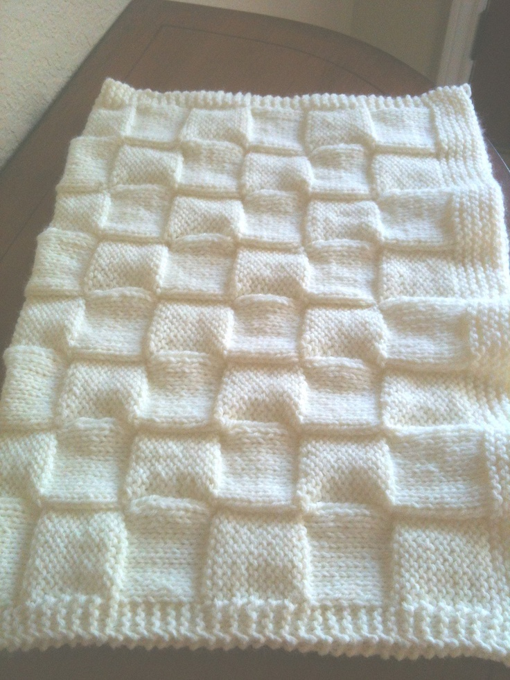 Soft Hand Knitted Baby Blanket. $20.00, via Etsy.