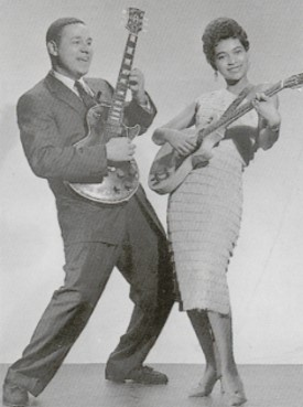 Another woman with a bass! Mickey & Sylvia was an American R duo, composed of Mickey Baker and Sylvia Vanderpool, who later became Sylvia Robinson. They were the first big seller for Groove Records. Mickey was a music instructor and Sylvia one of his pupils.