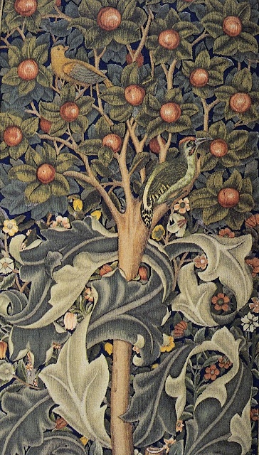 The story that inspired The Woodpecker tapestry comes from Ovid's Metamorphoses and deals with an ancient Italian King Picus, who was turned into a woodpecker by the sorceress Circe