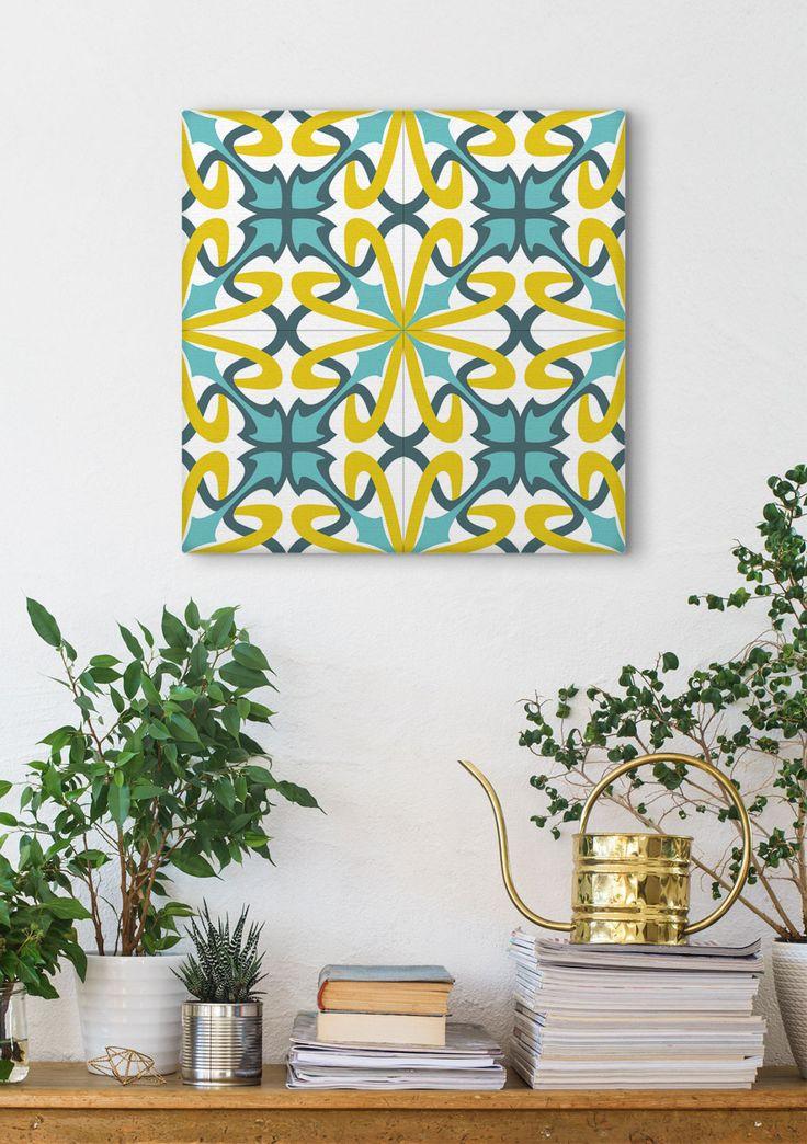 Tile Design Print, Wall Decoration. Blue And Yellow, Barcelona Tiles, Modernist Decor, Canvas Print by Macrografiks on Etsy