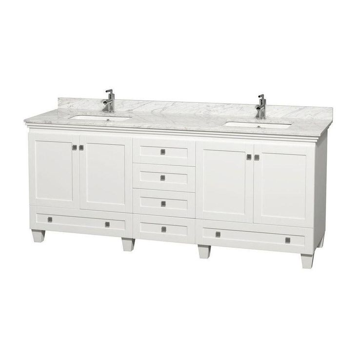 The Art Gallery  HomeDepot Wyndham Collection Acclaim in Double Vanity in White with Marble Vanity Top