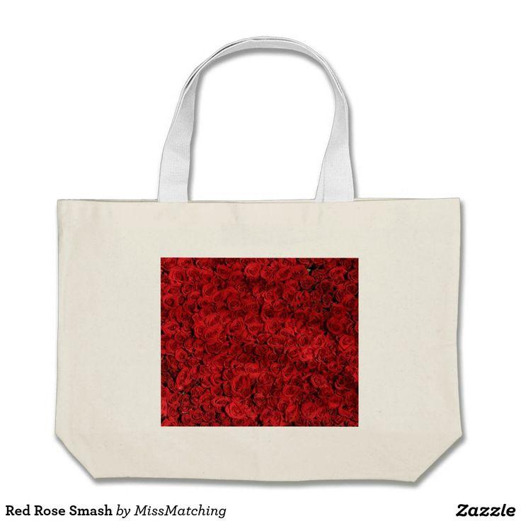 Red Rose Smash Large Tote Bag