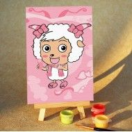 Child Cartoon - DIY Digital Oil Painting (beauty goat cosmetic& wood easel with packing) Price: $8.99 #DIYPainting #CuteArt