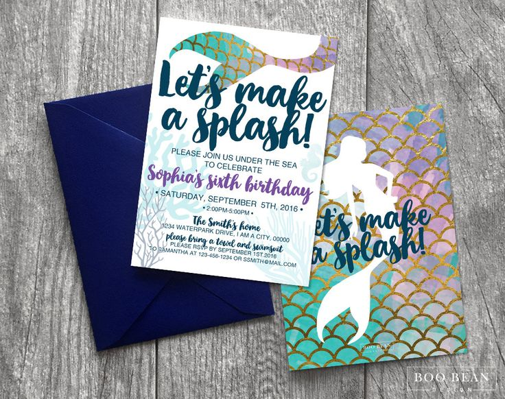 Mermaid Birthday Invitation | Printable Invitation| Mermaid Invitation | Mermaid Party | Under the sea | mermaid Party Invitation swim party by BooBeanDesign on Etsy