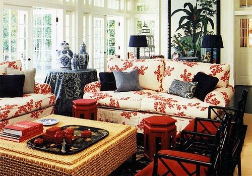 Mary McDonald, living room, red, chinoiserie, blue and white pottery