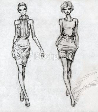 Secteur de la mode, Croquis, Illustration et peinture, Dessin au crayon, Mannequin Illustration vectorielle libre de droits