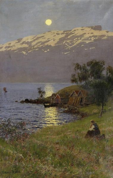 """Norwegian painting, """"Midnight Sun over the Fjord """" , by Hans Dahl"""