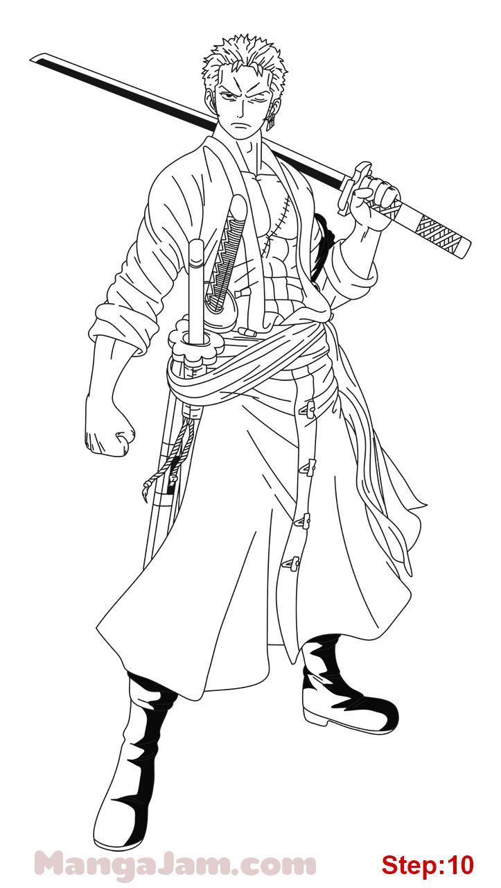 How Draw Roronoa Zoro One Piece 10 One Piece Drawing Zoro One Piece Roronoa Zoro
