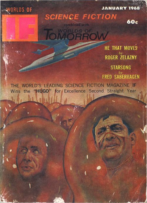 scificovers:  Ifvol 18 no 1 January 1968. Cover by John Pederson Jr illustratingHe That Moves by Roger Zelazny.