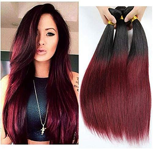 Buy Prime Brazilian Silky Straight Real Human Hair Extension 3 Bundles Black Wine Red Ombre Two Tone Hair Weave Wefts(T1B/99J,22 ,22 ,24 online