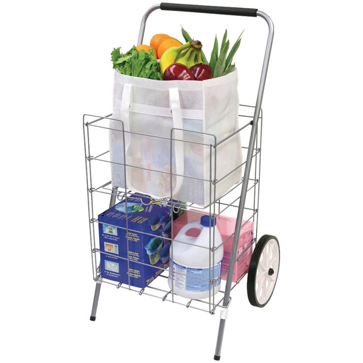"Fold-down Shelf For Extra Storage & Fragile Items Integrated Hook To Hang On To Supermarket Wire Cart Perfect Size For Public Transportation Lightweight Yet Sturdy Comfort-grip Foam Handle 9"" Dia Whee"