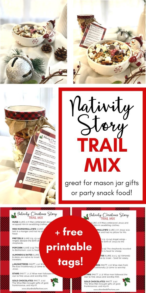 Nativity Christmas Story Trail Mix Mason Jar Gift Free Printable Tag A Hundred Affections Mason Jar Gifts Jar Gifts A Christmas Story