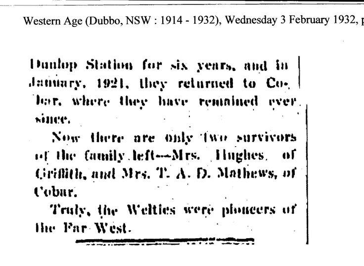 Peter Weltie, Cobar, NSW, 1932, part 4.
