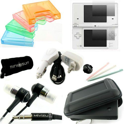 (Black) 16 in 1 Nintendo DSi Starter Kit. Bundle includes carrying case, home, travel, car charger, USB, screen protector, stylus, headphone