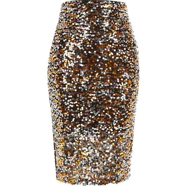 River Island Bronze sequin pencil skirt (570 ZAR) ❤ liked on Polyvore featuring skirts, brown skirt, knee length pencil skirt, metallic pencil skirts, tall skirts and river island