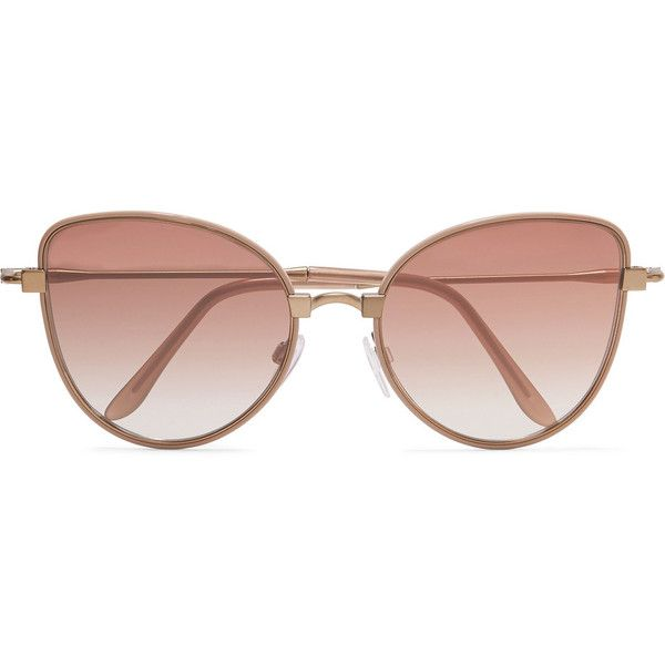 Cutler and Gross Cat-eye acetate and rose gold-tone sunglasses ($400) ❤ liked on Polyvore featuring accessories, eyewear, sunglasses, glasses, rose gold, uv protection sunglasses, cat eye sunnies, matte lens sunglasses, cat-eye glasses and cutler and gross glasses