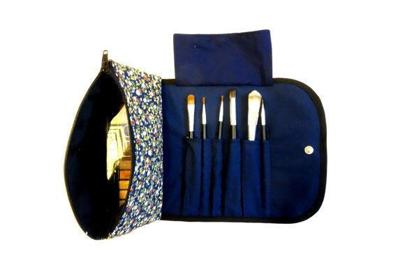 Floral Large Floral Makeup Bag with a Brush Holder Flap and Snap Button.