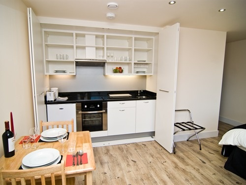 Great Kitchen for small space.  Used here in a serviced apartment but could work in a studio, bedsit, hotel room or annexe.