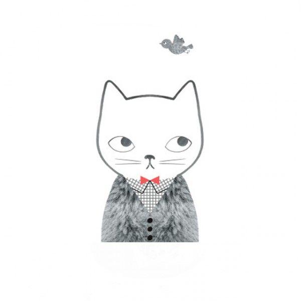 <p>Grande affiche chat avec oiseau, illustration par l'artiste Audrey Jeanne, éditée par OMM Design. Pour égayer les murs de votre maison . Pour tous les amoureux des chats, un must !</p>