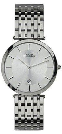 Michel Herbelin Mens Silver Dial Extra Flat Classic Bracelet Watch 414/B11
