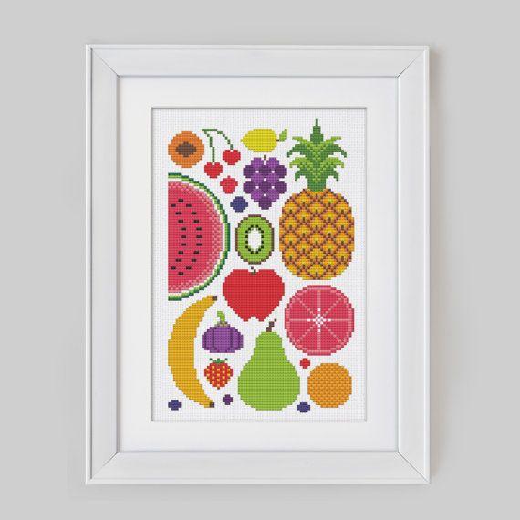Summer Fruits  Cross Stitch Pattern Digital Format  by Stitchrovia