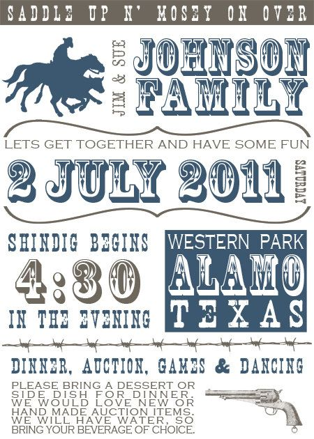 Western Playbill Style Invitation  Customizable by chiccountrygirl, $17.00