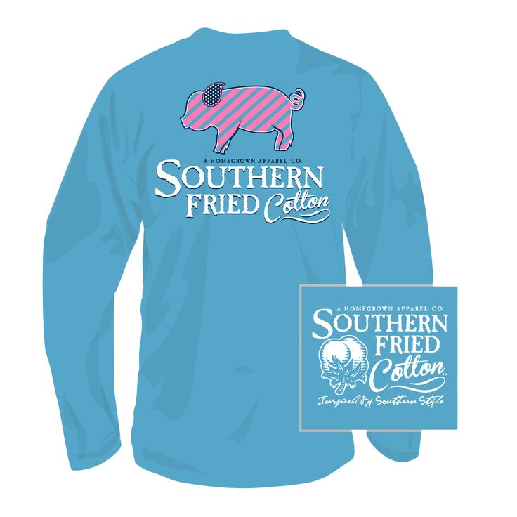Lil Striped Pig Long Sleeve Tee Shirt in Royal Caribbean by Southern Fried Cotton