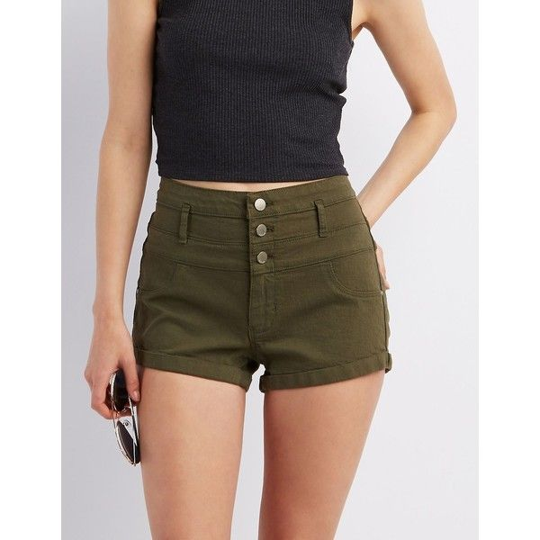Refuge Hi-Waist Shortie Colored Denim Shorts ($25) ❤ liked on Polyvore featuring shorts, olive, short jean shorts, high rise shorts, cuffed jean shorts, high-rise shorts and high-waisted shorts