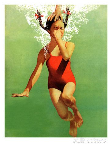 """""""Dunked Under Water,"""" August 9, 1941 Giclee Print by John Hyde Phillips at AllPosters.com"""