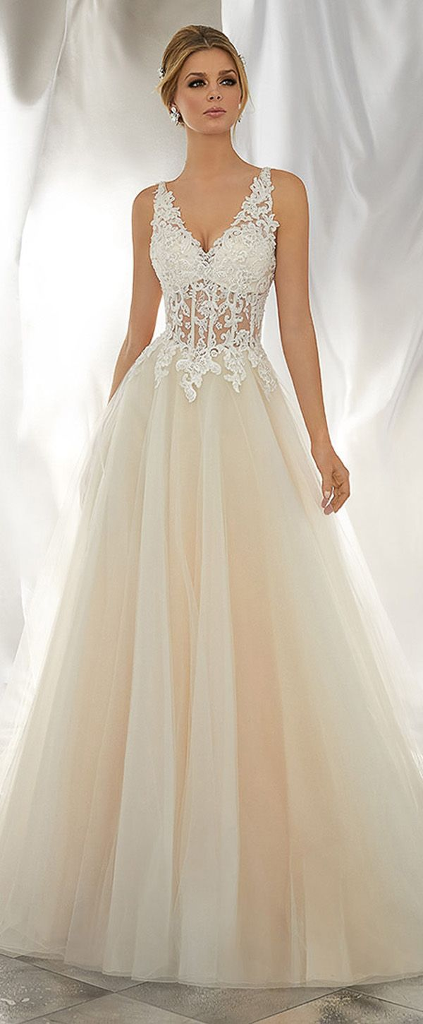 Exquisite Tulle V-neck Neckline See-through A-line Wedding Dresses With Beaded Lace Appliques